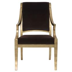 Nicola Global Bazaar Chocolate Brown Gold Leaf Arm Chair