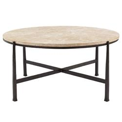 Norfolk Industrial Loft Round Metal Stone Patio Coffee Table