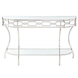 Gretta Radiant Hollywood Regency Polished Nickel Console Table