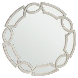 Gretta Hollywood Regency Ash Grey Fretwork Round Mirror