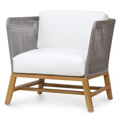 Palecek Avila Modern Grey Rope Woven Teak Outdoor Lounge Chair - Salt