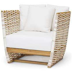 Palecek San Martin Modern Classic Salt Rope Wrapped Outdoor Lounge Chair