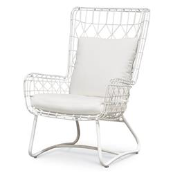 Chloe Modern Classic Salt White Steel Outdoor Wing Chair