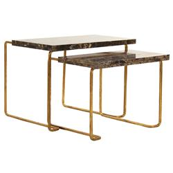 Evalina Hollywood Rengency Antique Brass Stone Tier End Table