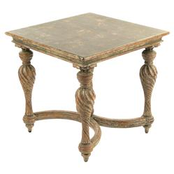 Alexandrine french country antique wood baluster end table for Wood balusters for tables