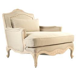 Bree French Country Ornate Beige Ivory Chaise Lounge