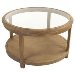 Odil Country French Round Glass Oak Coffee Table