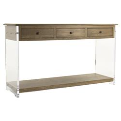 Canaan Modern Classic Oak Acrylic Console Table