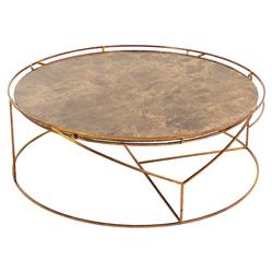 Cicely Global Inset Stone Rustic Gold Coffee Table