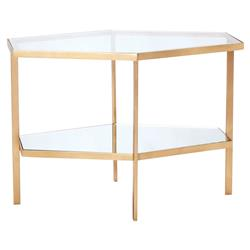 Vera Modern Clear Glass Hexagon Gold Metal Side Table - Short