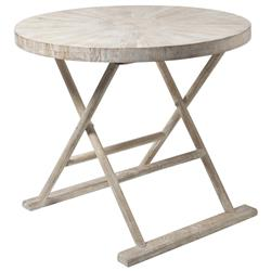 Kismet Coastal Beach Mango Driftwood Folding End Table