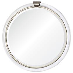 Silvia Hollywood Regency Acrylic Silver Wall Mirror - 36D