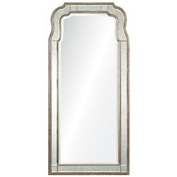 Holiday Hollywood Regency Antique Silver Leaf Frame Arch Mirror