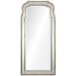 Holiday Hollywood Regency Antique Silver Leaf Frame Arch Wall Mirror