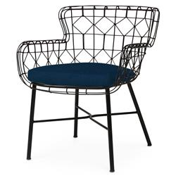 Chloe Modern Classic Navy Black Steel Outdoor Arm Chair