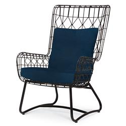 Chloe Modern Classic Navy Black Steel Outdoor Wing Chair