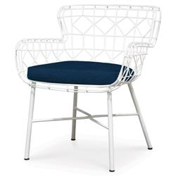 Chloe Modern Classic Navy White Steel Outdoor Arm Chair