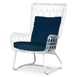 Chloe Modern Classic Navy White Steel Outdoor Wing Chair