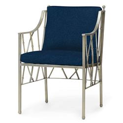 Emma Modern Silver Steel Branch Navy Outdoor Arm Chair
