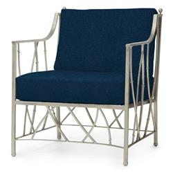 Emma Modern Silver Steel Branch Navy Outdoor Lounge Chair