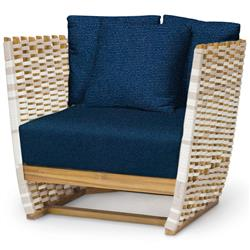 Palecek San Martin Modern Classic Navy Rope Wrapped Outdoor Lounge Chair