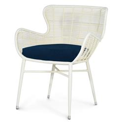 Palecek Palermo Modern Classic Cream Outdoor Chair - Navy