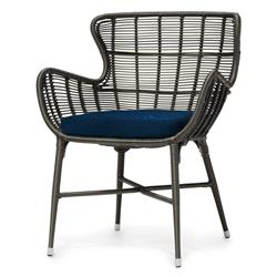 Lacey Modern Classic Espresso Outdoor Chair - Navy