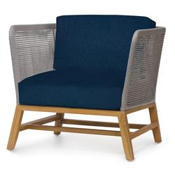 Palecek Avila Modern Grey Rope Woven Teak Outdoor Lounge Chair - Navy
