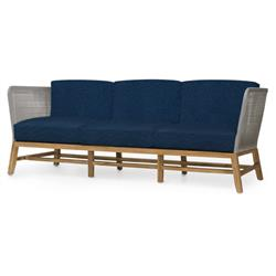 Palecek Avila Modern Grey Rope Woven Teak Outdoor Sofa - Navy