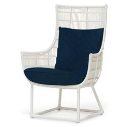 Palecek Verona Modern Classic Faux Wicker Cream Outdoor Lounge Chair - Navy