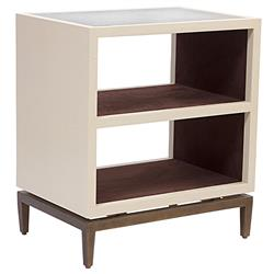 Mr. Brown Declichy Modern Classic Cream Faux Croc Shelf Nightstand