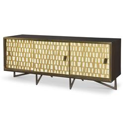 Serge Modern Classic Gold Brown Sliding Door Cabinet