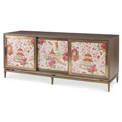 Mr. Brown Muse Modern Classic Rose Chinoiserie Ash Oak Cabinet