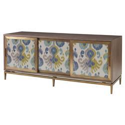 Mr. Brown Muse Global Modern Blue Ikat Ash Oak Cabinet