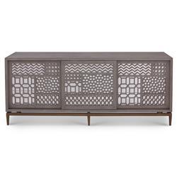 Mr. Brown Tito Low Bazaar Grey Oak Mirror Patchwork Low Cabinet