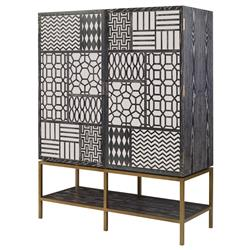 Mr. Brown Tito Low Bazaar Charcoal Ash Mirror Patchwork Tall Cabinet