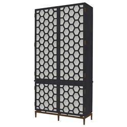 Mr. Brown Wilhelm Modern Classic Hexagon Grey Antique Mirror Tall Cabinet