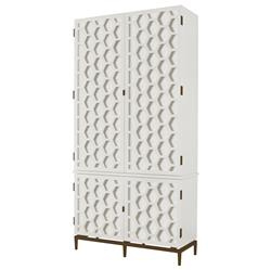 Mr. Brown Wilhelm Modern Classic Hexagon White Antique Wood Tall Wardrobe
