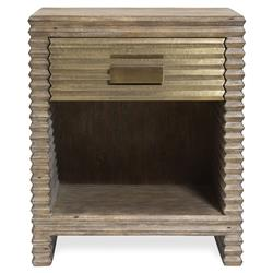 Mr. Brown Belmont Modern Corrugated Grey Pine Brass Rustic Nightstand