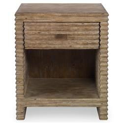 Mr. Brown Belmont Modern Corrugated Grey Pine Rustic Nightstand