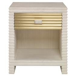 Mr. Brown Belmont Modern Corrugated Ivory Pine Silver Nightstand
