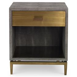 Mr. Brown Odette Modern Classic Charcoal Faux Shagreen Brass Nightstand