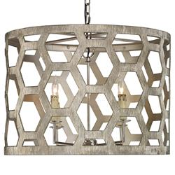 Mr. Brown Angelina Modern Classic Brushed Silver Hexagon Pendant