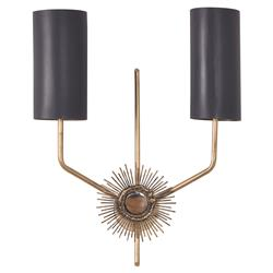 Mr. Brown Astral Modern Gold Sunburst Matte Black Wall Sconce