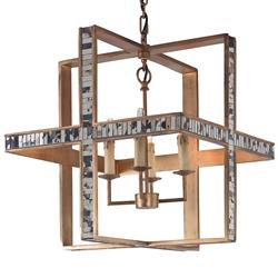 Mr. Brown Hanover Modern Classic Cube Rustic Gold Mirrored Pendant