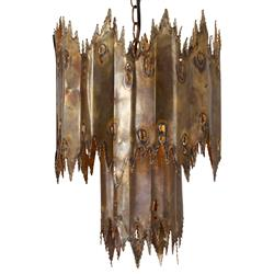 Mr. Brown Morelang Mid Century Gold Patina Two Tier Chandelier - 12D