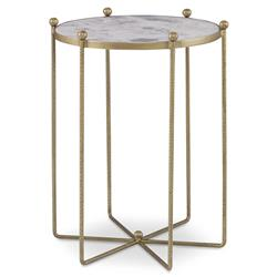 Mr. Brown Tangmere Hollywood Regency Grey Marble Gold Spindle End Table - 20D