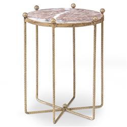 Mr. Brown Tangmere Global Granite Gold Spindle End Table - 17.5D