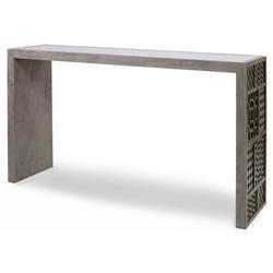 Mr. Brown Tito Console Modern Grey Oak Mirror Pattern Fretwork Console Table