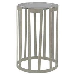 Mr. Brown Bernet Modern Classic Flat Silver Glass End Table